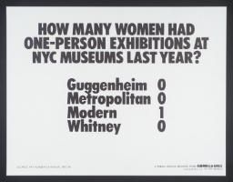 Guerrilla Girls 'How Many Women Artists Had One-Person Exhibitions In NYC Art Museums Last Year?', 1985 © courtesy www.guerrillagirls.com