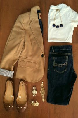 tan blazer with dark jeans.. i can't believe I'm pinning fall clothes EEK!