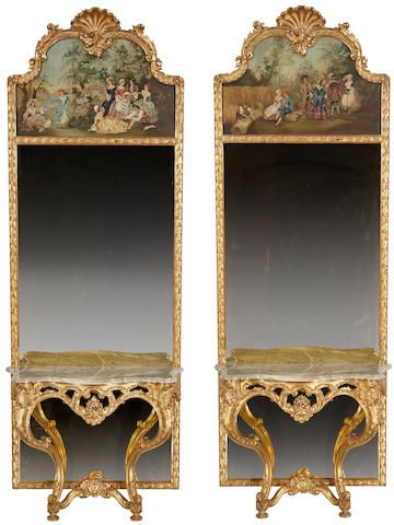 A pair of Continental Rococo style paint decorated and giltwood trumeau mirrors and console tables third quarter 20th century