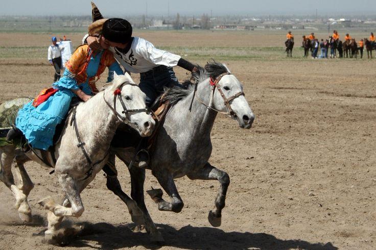 """Kyz Kuu, literally """"girl chasing"""", is a traditional sport among the Azerbaijanis, Kazakhs and Kyrgyz"""