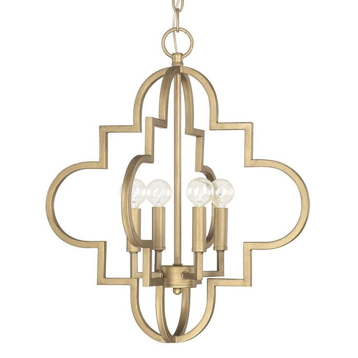 This Ellis collection 4-light pendant features a brushed gold finish that will compliment many transitional decors. The unique metal frame design will add interest to this intriguing piece.
