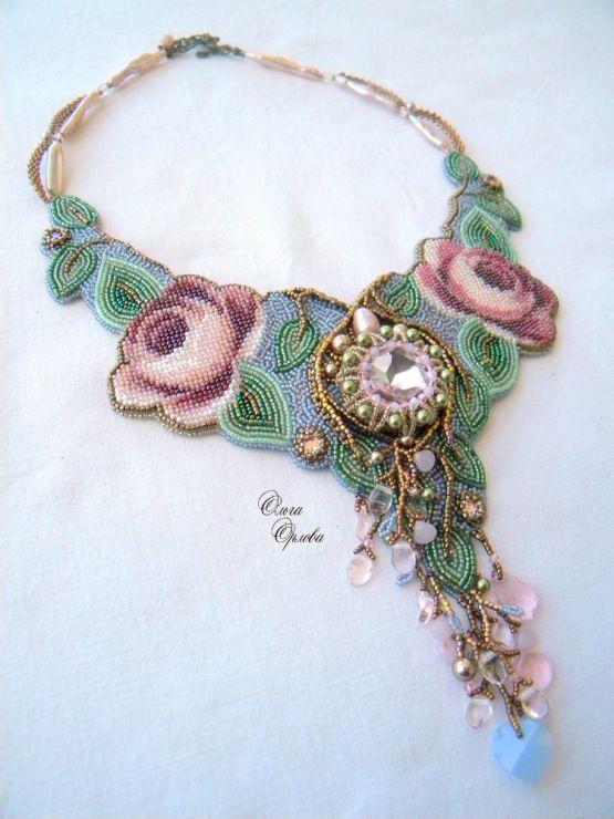 Neckpiece by Russian beader Olga Orlova. Bead embroidery, peyote stitch bezels.  Seed beads, Swarovski crystals, rose quartz, other stones. More at http://viola.bz/russian-beadwork-artist-and-jeweler-olga-orlova/