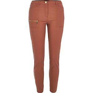 Rust zip skinny fit pants