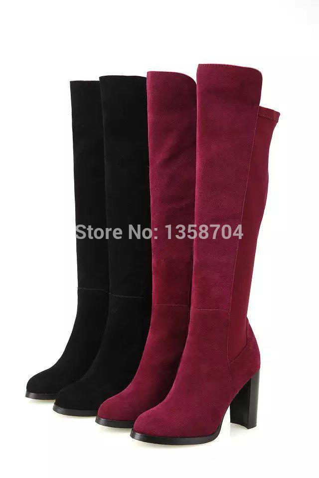 Женщин колено высокие каблуки марка за сапоги до колена для женщин зима теплая снега на высоких каблуках мода женщин реальные кожаные сапоги