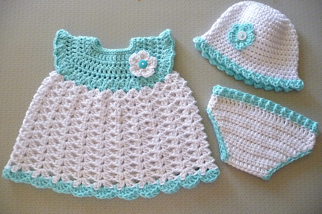 baby girl set -free crochet pattern would be cute doll clothes
