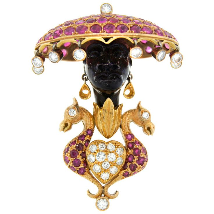 NARDI Diamond Ruby Black Onyx Yellow Gold Blackamoor Pin Brooch | From a unique collection of vintage brooches at https://www.1stdibs.com/jewelry/brooches/brooches/