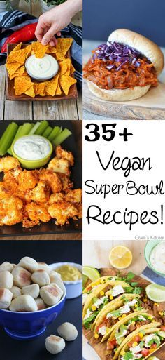 35+ #Vegan Super Bowl Recipes!! These vegan finger foods are perfect for game day including cauliflower wings, cheese fries, vegan queso, sliders & chili! #superbowl #comfortfood #gameday
