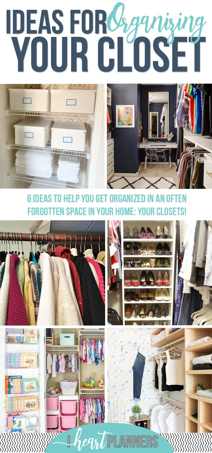 I recently completely reorganized our master closet, so I definitely have closets on my mind. Closet Organizing Inspiration| How to Organize Your Closet