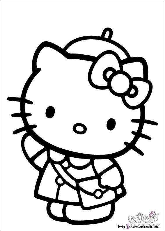 هيلو كيتى للتلوين رسومات سهلة التلوين للأطفال صور 3dlat Net 31 17 3eac Hello Kitty Colouring Pages Hello Kitty Drawing Kitty Coloring