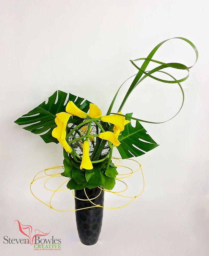 Modern calla lily flower arrangement designed by steven
