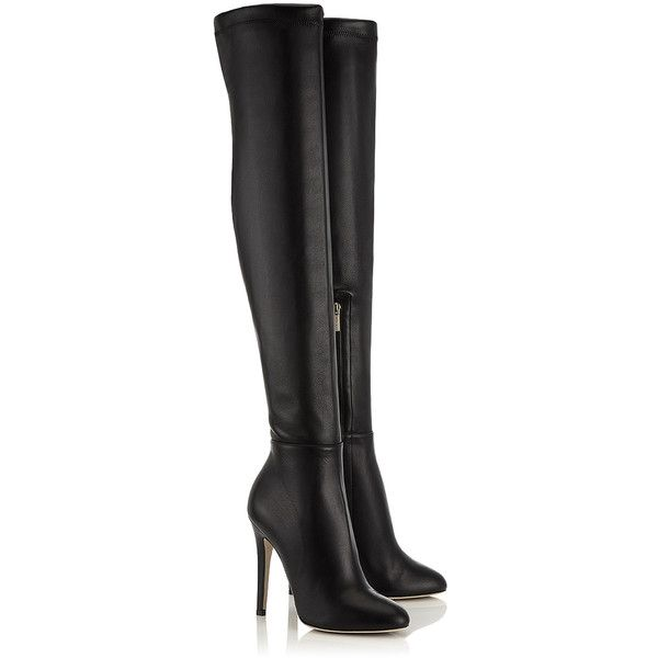 Black Calf and Stretch Nappa Over the Knee Boots (1,905 NZD) ❤ liked on Polyvore featuring shoes, boots, black thigh high boots, black over the knee boots, stretch thigh high boots, above the knee boots and kohl boots