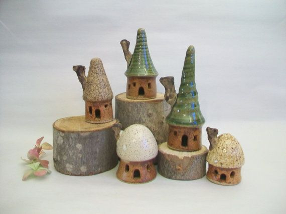 Garden Fairy House Village   Set of 5 by SuzannesPotteryFarm, $65.00