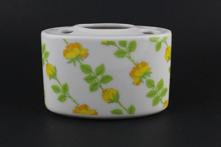Vintage Yellow Rose Porcelain Toothbrush Toothpaste Holder Bathroom Decor #Unbranded