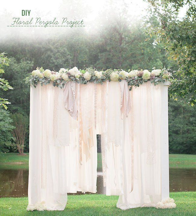 Idea for ceremony backdrop - get six long sheer curtain panels (2 for each window) and use tension rods to hang them over the back windows. Put green garlands (like olive branches) across the top to cover up the top of the curtain