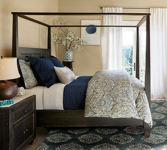 Empire Scroll Rug - Indigo   Pottery Barn  love the bed! and the rug