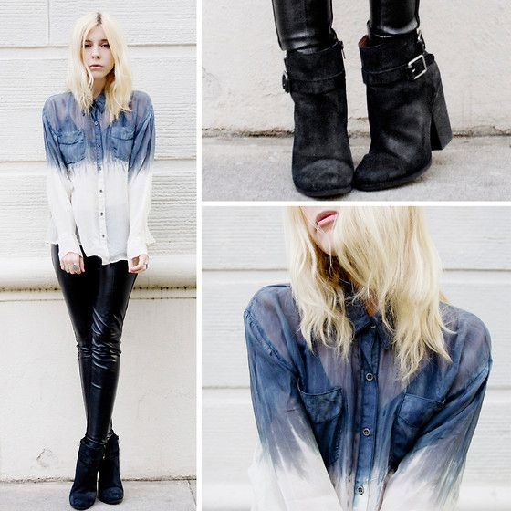 DIY with bleach #ispydiy: Diy Denim Shirts, Dips Dyed, Denim Shadow, Bleach Dips Dyes Diy, Black Leather, Diy Clothing, Leather Pants, Dips Dyes Shirts, Diy Projects