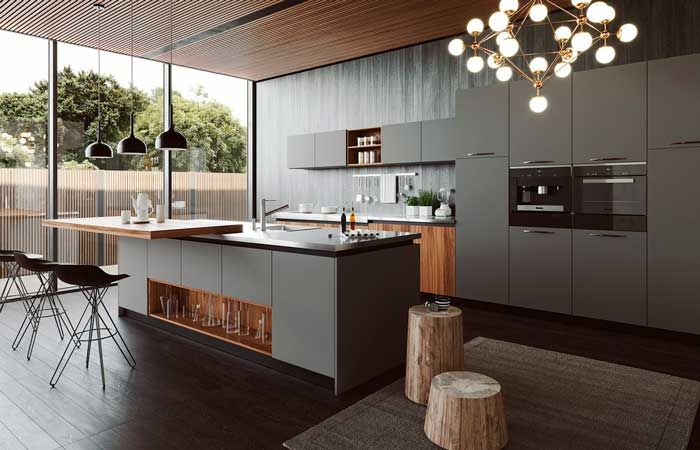 Keys to designing a kitchen open to the rest of the house abiertas New Kitchen, Kitchen Island, Kitchen Design, New Homes, Dining Room, Interior Design, Table, House, Furniture