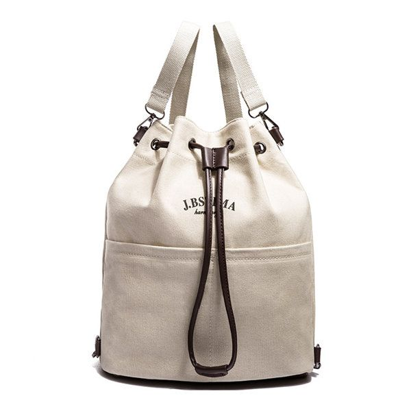 Women Canvas Bucket Draw String Shoulder Bags Crossbody Bags Backpack