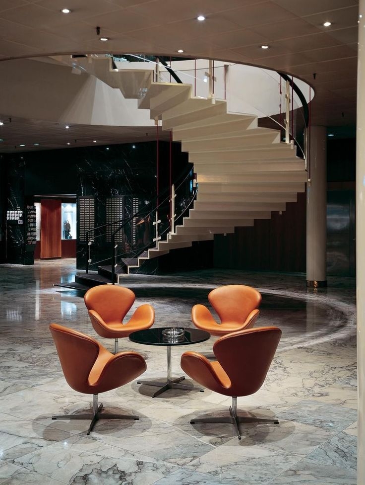 Arne Jacobsen. the SAS Royal Hotel, Copenhagen. 1957 http://cimmermann.co.uk/blog/arne-jacobsen-danish-design-icons/