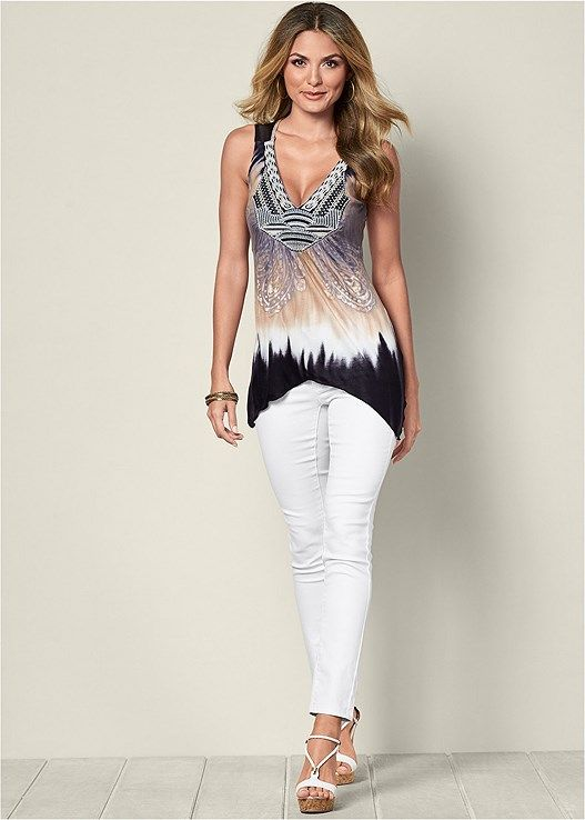 NECK DETAIL TIE DYE TOP, COLOR SKINNY JEANS