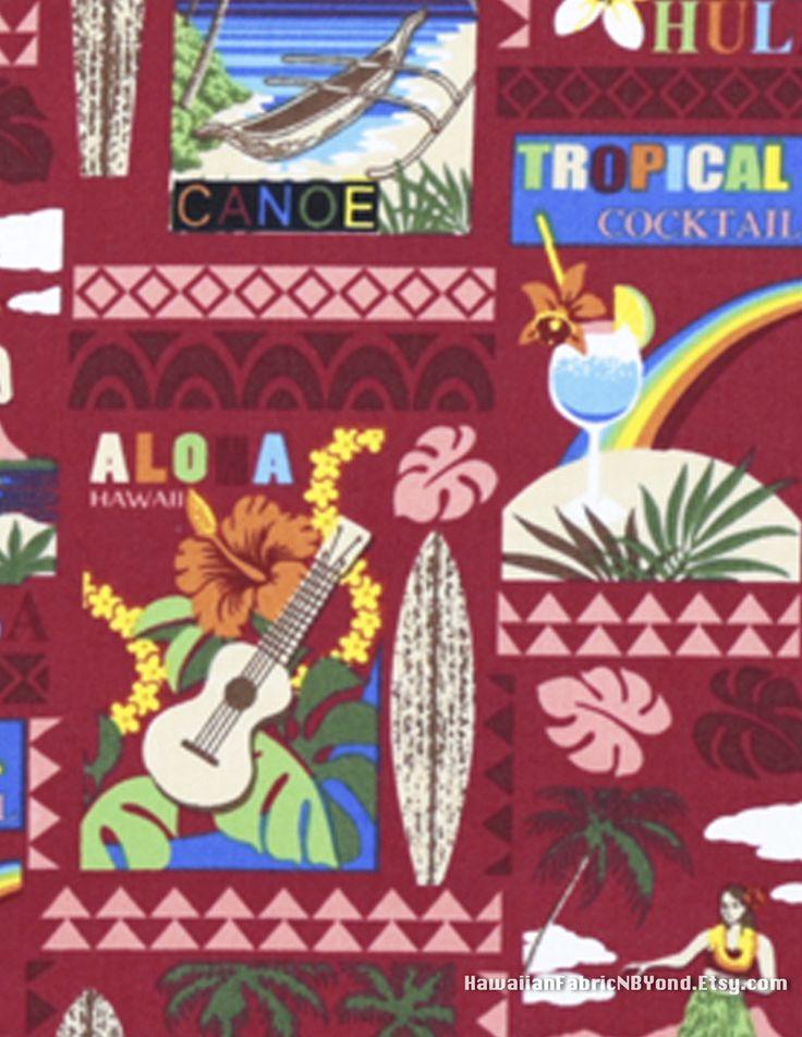Fabric: Hawaiian goodies- ukulele, surfboard, rainbow, sunset cocktail, hula and Aloha. Cotton. Sold by HawaiianFabricNBYond.Etsy.com