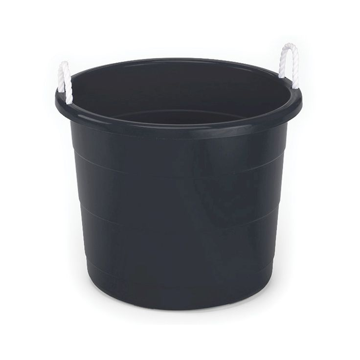 plastic storage bin with woven handles black pillowfort