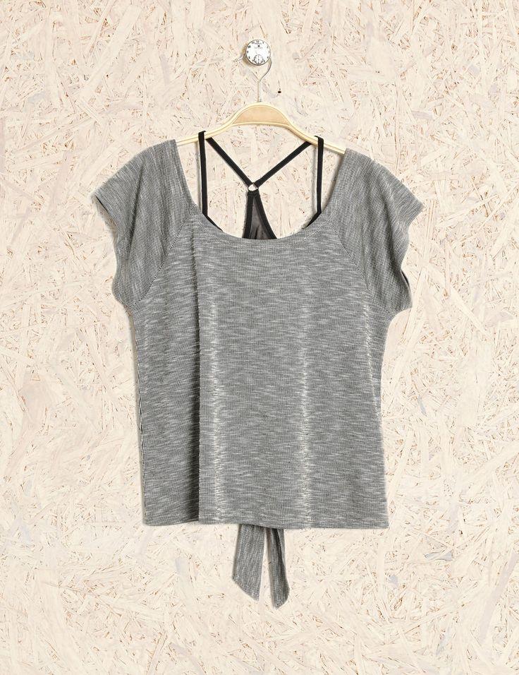 Jennyfer - tee-shirt brassière intégrée noir et gris
