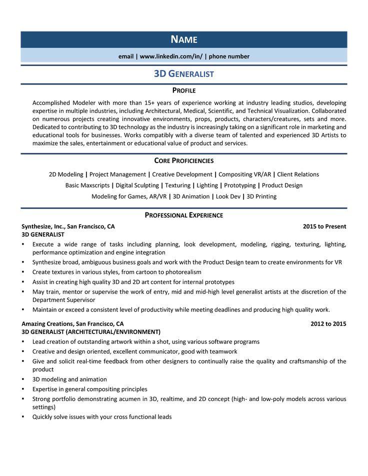 3d generalist resume samples examples for 2020