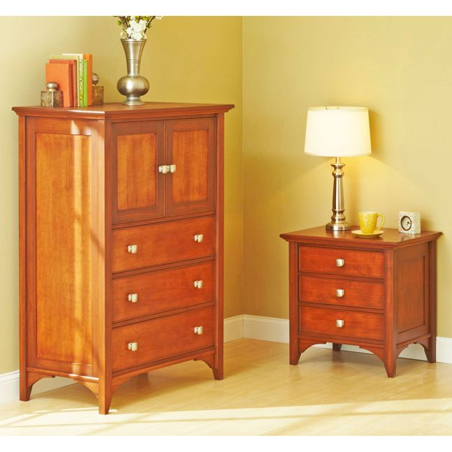 Traditional Dresser & Nightstand woodworking plan. These two pieces share construction techniques, such as simple tongue-and-groove and loose-tenon joints, making them easy to build simultaneously from one set of instructions. These pieces are part of a five-piece traditional bedroom set, which includes plans for a bed, a lingerie chest, and a blanket chest. Featured in the July 2013 issue of WOOD.