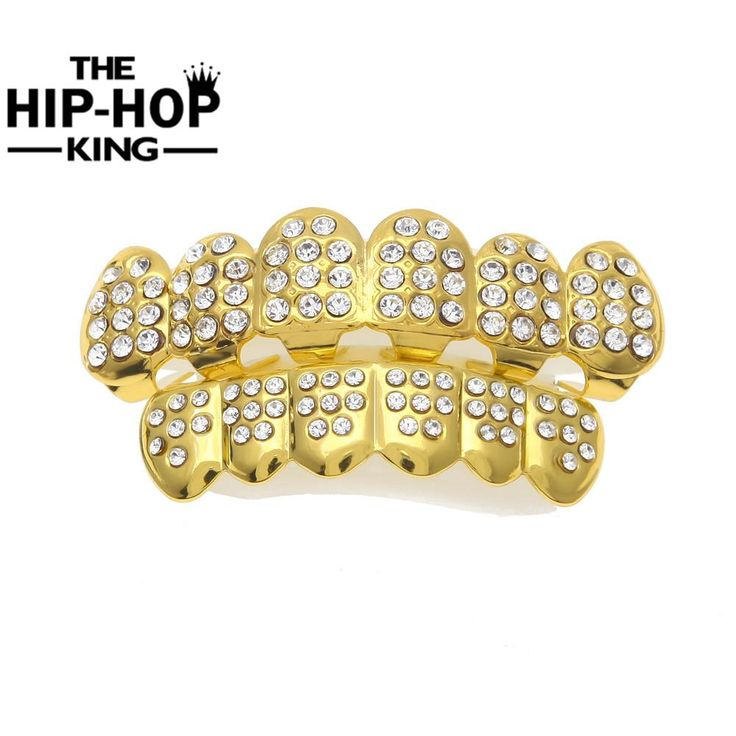Gold Color Iced Out CZ Teeth GRILLZ Top Bottom Tooth Caps Hip Hop Bling NEW with Silicone mode
