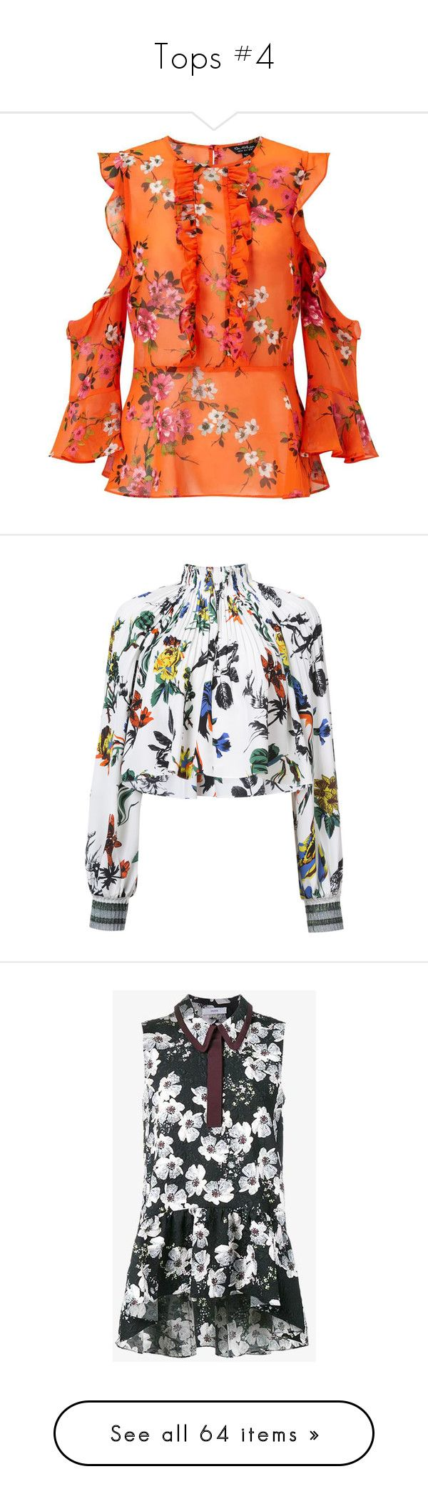 """Tops #4"" by frenchystyle ❤ liked on Polyvore featuring tops, blouses, long sleeve tops, miss selfridge, shirts, orange, cold shoulder shirt, long-sleeve shirt, floral blouse and long sleeve shirts"