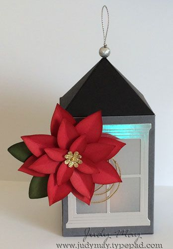 Christmas Lantern using Stampin Up 'Hearth & Home' Thinlits Dies and Festive Flower Punch - Judy May, Just Judy Designs. Original design by Anna Browing.