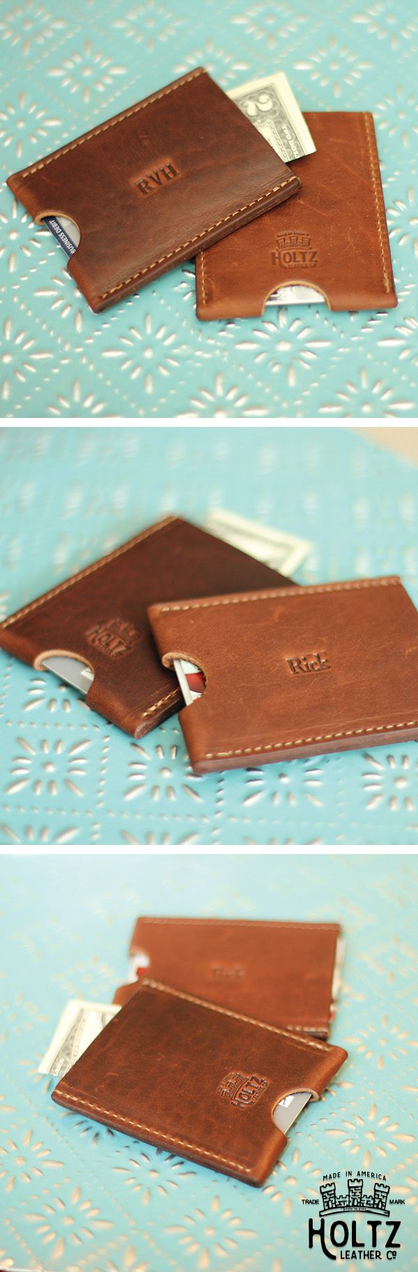 Sleek and slim, The Jefferson Card Holder Wallet makes a great gift for your groomsmen.  The Jefferson can hold up to 5 cards and comfortably fits in their front pocket.  Add their initials to make it a memorable keepsake.