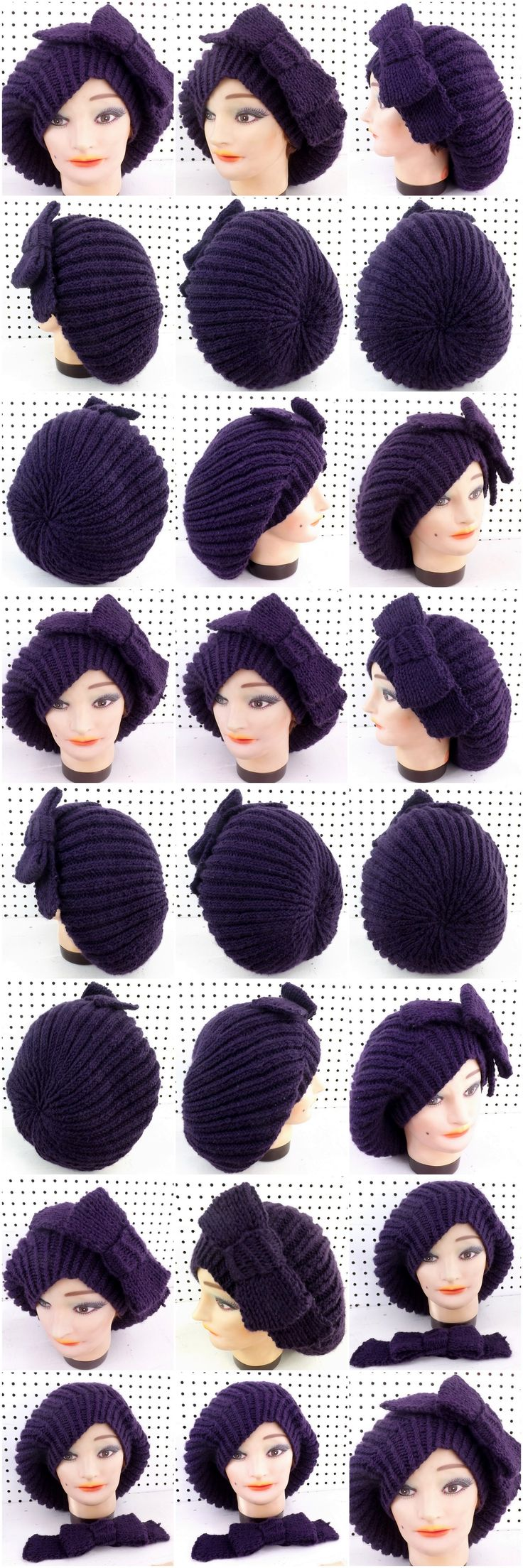 http://www.etsy.com/listing/159388158/knit-hat-women-hat-mary-slouchy-beret?ref=shop_home_active MARY Knit Beret Hat with Ribbon Pin in Purple