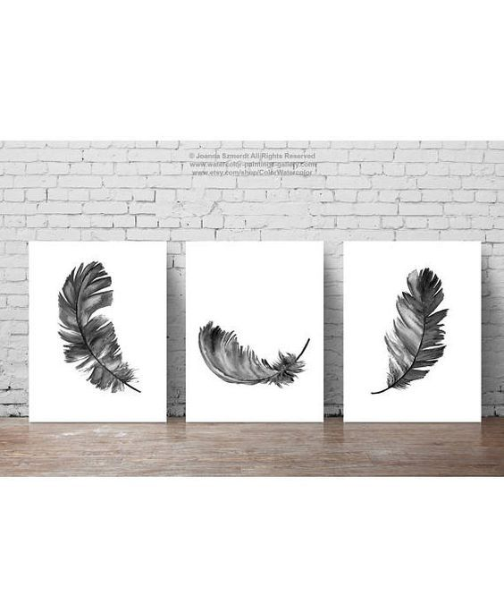 Feather Illustration, set of 3 Feathers Art Print Black Home Decor, Grey White Minimalist Poster Gifts for Him Living Room Bedroom Drawing – Olissia Kujat