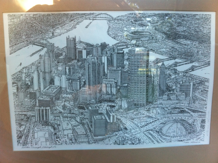 Golden Triangle, Pittsburgh, Pa. By Nevin Robinson. Signed print of an ink drawing.