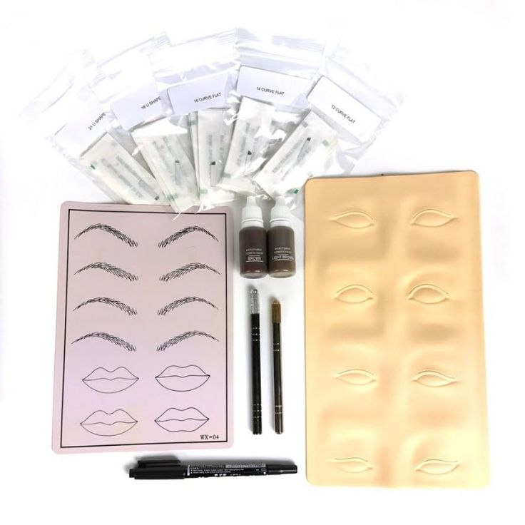 PFT Eyebrow Microblading Kit - For Permanent Makeup Eyebrow Tattoo Microblade. Permanent Makeup eyebrow Tattoo Practice Kit which can help you learn to do high Quality tattoo work. 2 x 1/2oz Bottle Permanent Makeup Pigment for Eyebrow - Brown & Light Brown. 2 x Easy to Use Non-Disposable Microblade Handles. 3D Eyebrow Synthetic Rubber Practice Skin. Microblade Needles to create 3 dimensional short, medium and long hair strokes.
