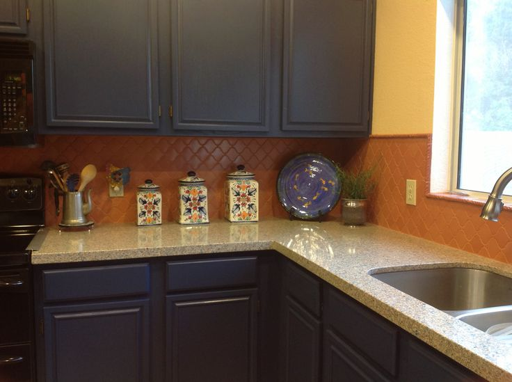 Painted the orange builder oak cabinets blue added a for Builder oak countertop