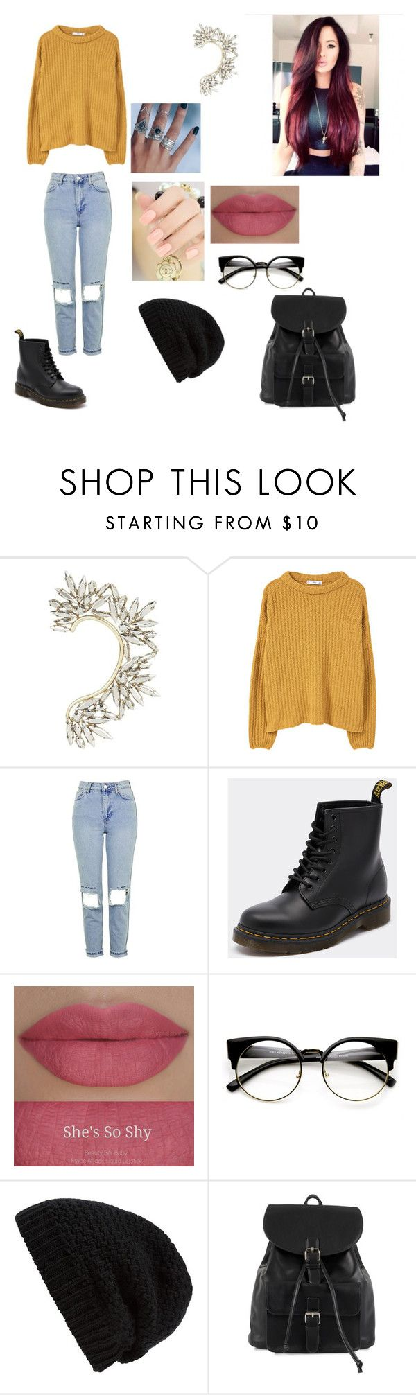 """""""Untitled #475"""" by mathilde-guerra ❤ liked on Polyvore featuring BCBGMAXAZRIA, MANGO, Topshop, Dr. Martens, Shop Dixi, Rick Owens and NLY Accessories"""
