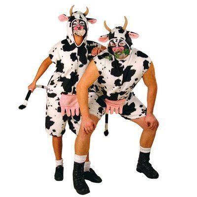 Koeien kostuum voor volwassenen. Aan dit koeien kostuum zit een capuchon vast met oren en hoorns. Gemaakt van 80% polyacryl en 20% polyester. Er zit geen masker bij het kostuum, deze is echter wel los verkrijgbaar!