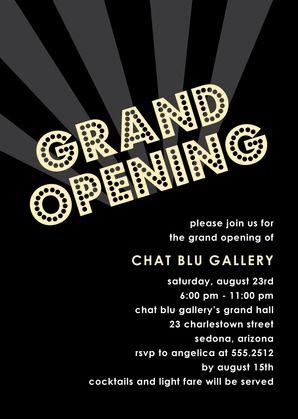 Grand Opening Corporate Event Invitations In Black