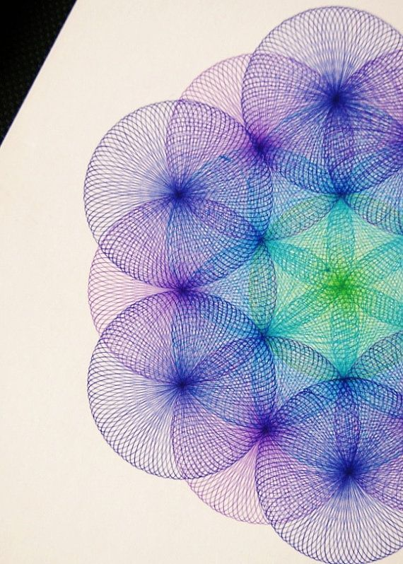 FLOWER OF LIFE - Original Spirograph Art by Spiromania at Etsy -> Great tools for light-workers.. Flower of Life T-Shirts, V-necks, Sweaters, Hoodies & More ONLY 13$ EACH! LIMITED TIME CLICK ON THE PIC