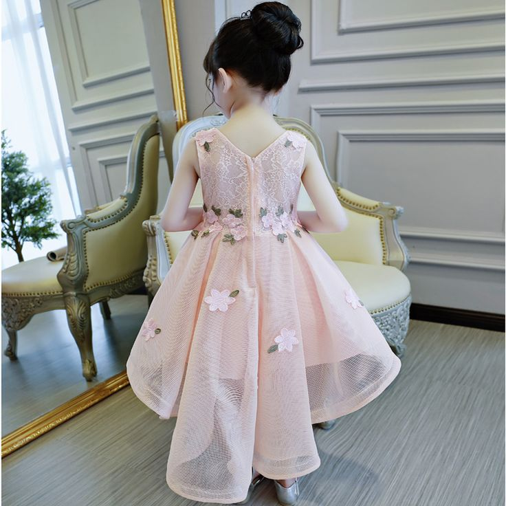 2017 Корейский Новый Модная одежда для детей, Детская мода девушки принцесса розовый кружевные цветы платье Для детей день рождения вечернее платье для свадьбы одежда