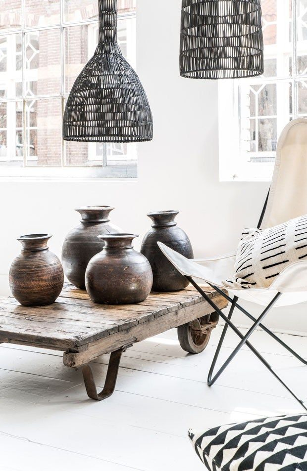 Love this mix, lamps - table - vases