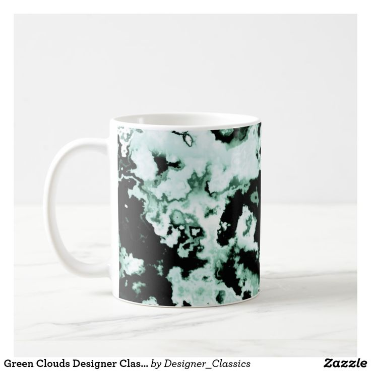 Green Clouds Designer Classic Mug