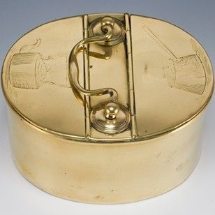 A Victorian two-compartment kitchen spice box, the lid to each tinned compartment engraved, to one a lidded saucepan and the other a kettle.  w.