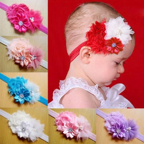 3pcs Mixed Color Baby Headbands Cloth Flower Girls Hair Accessories OHAR-R156-M