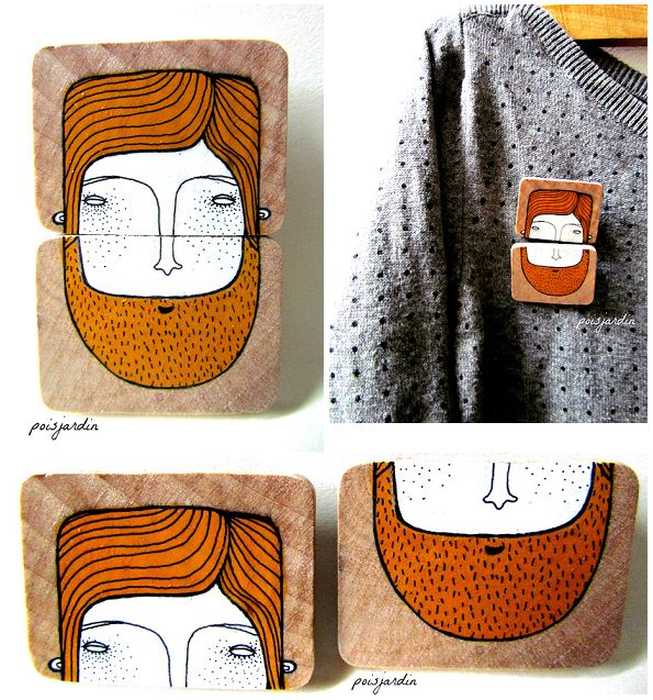 Handpainted double wooden brooch on Behance