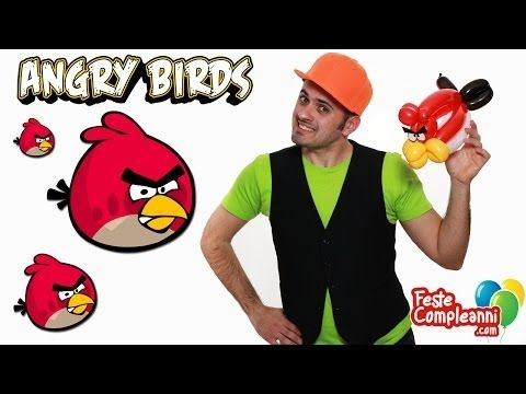 Angry Birds palloncini modellabili, angry birds ballon, with balloon art. sculture con palloncini modellabili per realizzare palloncino a forma di angry birds.  Angry Birds con i Palloncini - Realizziamo uno dei famosi Uccellini Arrabbiati, l'Angry Birds rosso. Con i palloncini modellabili riusciremo a creare una scultura di palloncini a forma del famosissimo uccellino degli Angry Birds.