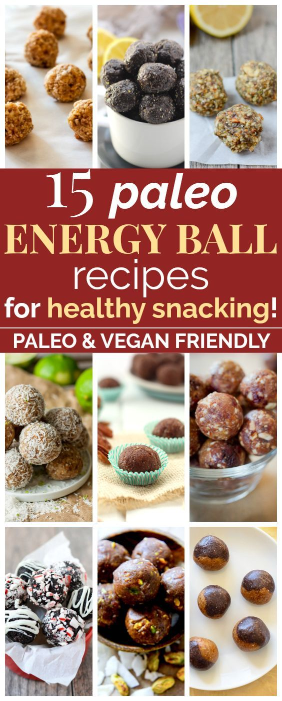 15 Paleo Energy Ball Recipes Perfect for Healthy Snacking | These clean eating energy bite recipes look SO GOOD! They're loaded with protein and antioxidants and will make amazing snacks for me and my family! I love that they're vegan, paleo, gluten-free, and raw. Plus, these no-bake bites are super easy to make! Definitely pinning! #cleaneating #glutenfree #vegan #paleo